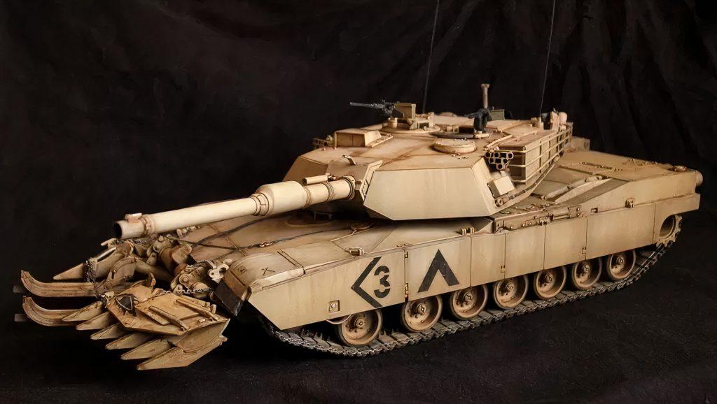 Tamiya Models M1A1 Abrams Tank with Mine Plow, Model: TM35158